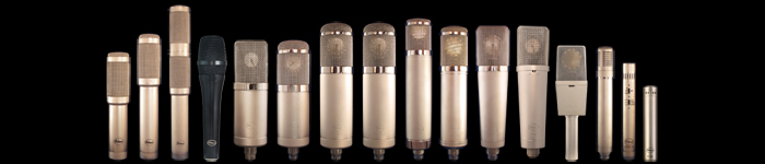 The distinguished line-up of Peluso Microphones.